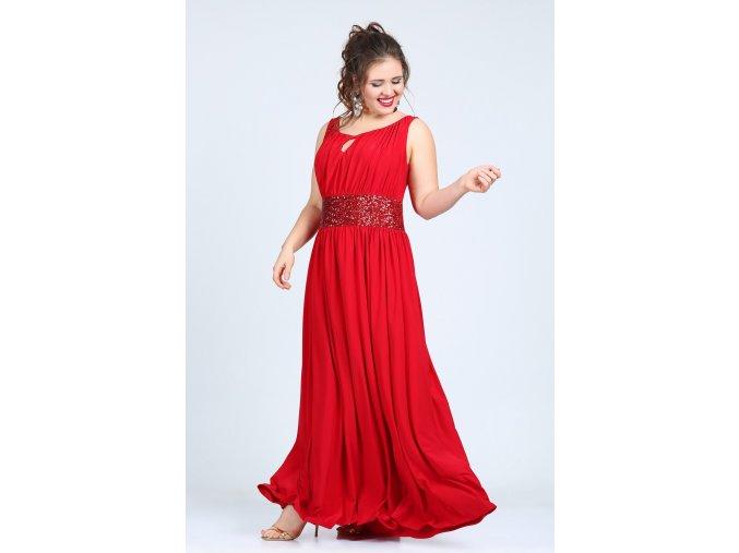 Společenské šaty pro plnoštíhlé Olympia červené dlouhé