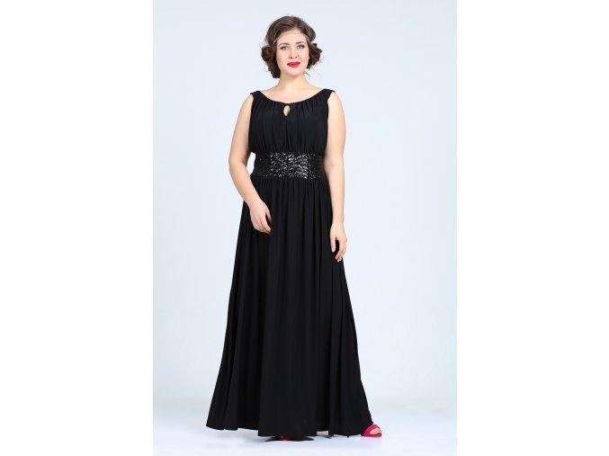Společenské šaty pro plnoštíhlé Olympia černé dlouhé