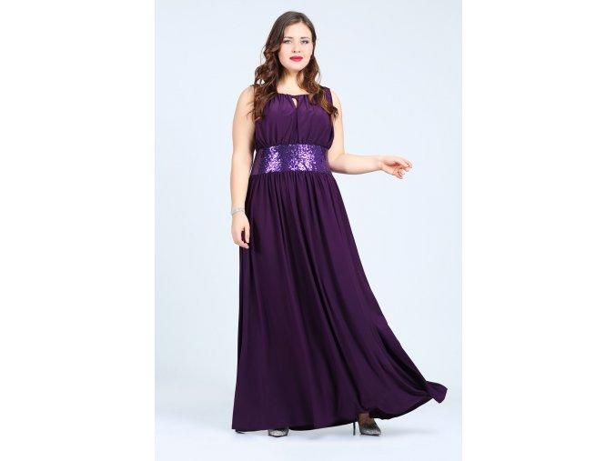 Společenské šaty pro plnoštíhlé Olympia fialové dlouhé