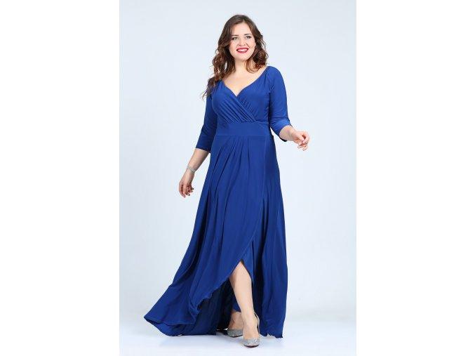 Společenské šaty pro plnoštíhlé Federica modré dlouhé