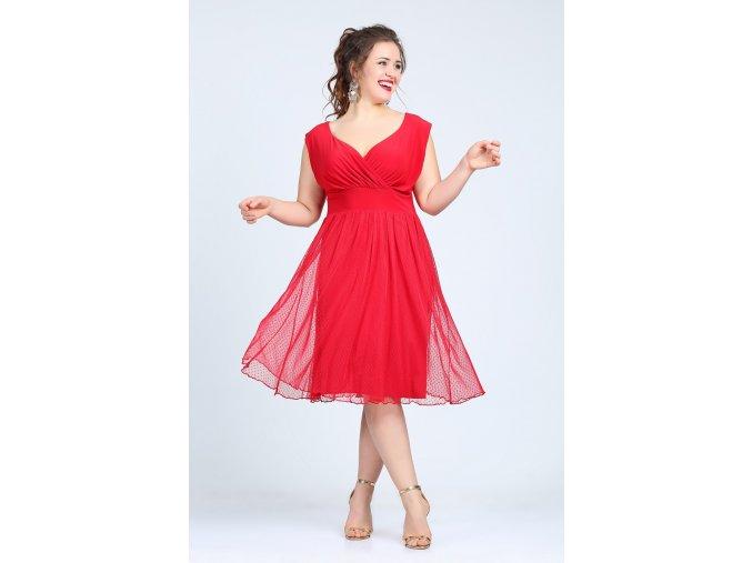 Společenské šaty pro plnoštíhlé Milly červené