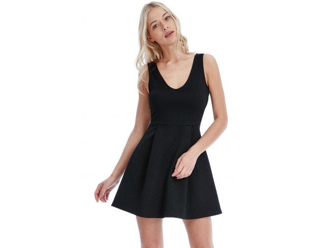 Šaty Lia černé se vzorem
