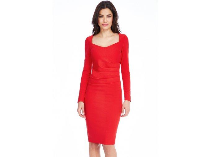 Společenské šaty pro plnoštíhlé Aleen červené