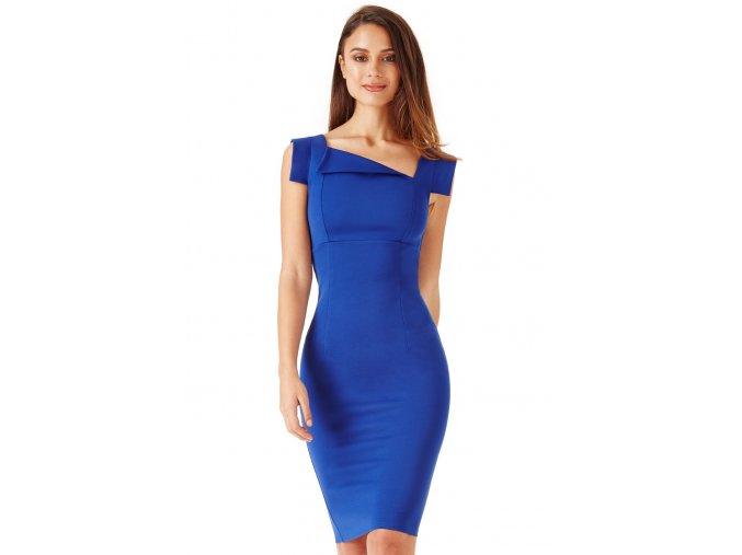 Společenské šaty pro plnoštíhlé Camie modré