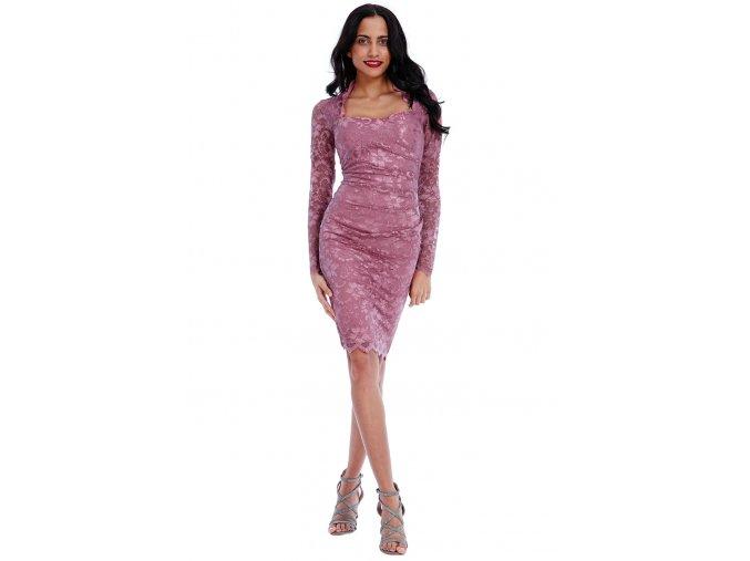 Společenské krajkové šaty Priscilla starorůžové