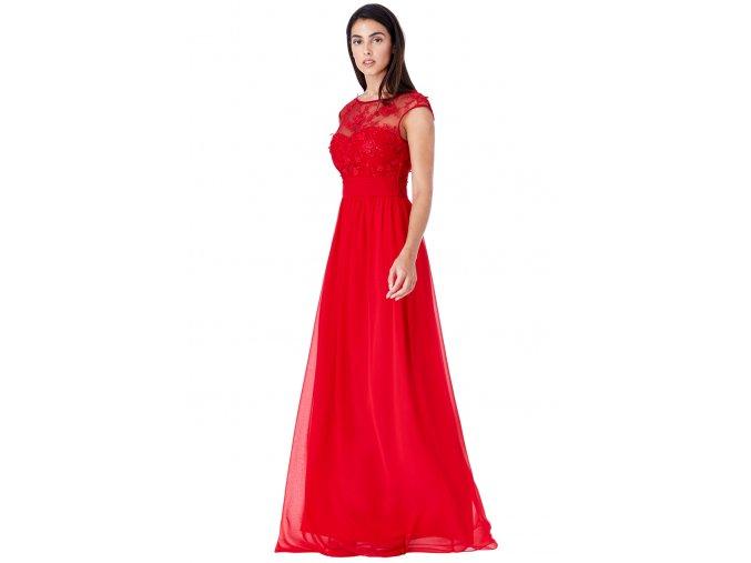 Luxusní společenské šaty Floretta červené