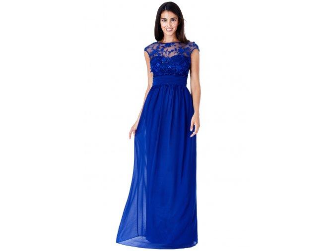 Luxusní společenské šaty Floretta modré