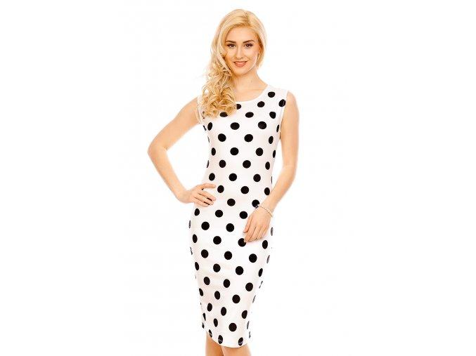 Společenské šaty Paris bílé s černými puntíky