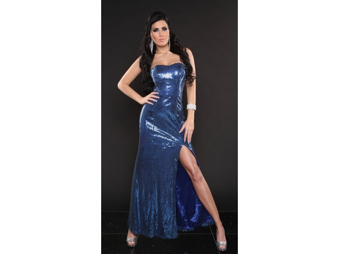 Dlouhé plesové šaty Curtis modré