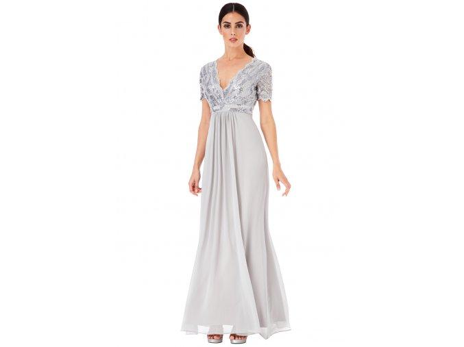 Luxusní společenské šaty Tiffanie stříbrno-světle šedé