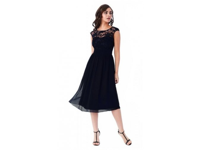 Luxusní společenské šaty pro plnoštíhlé Floretta II černé náhled