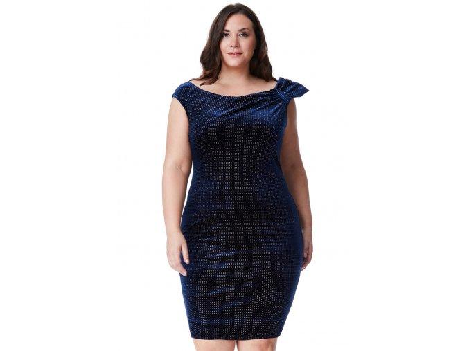 Společenské šaty pro plnoštíhlé Salome tmavě modré