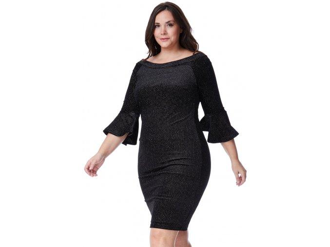 Společenské šaty pro plnoštíhlé Velvet černé