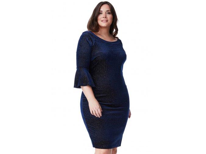 Společenské šaty pro plnoštíhlé Velvet tmavě modré