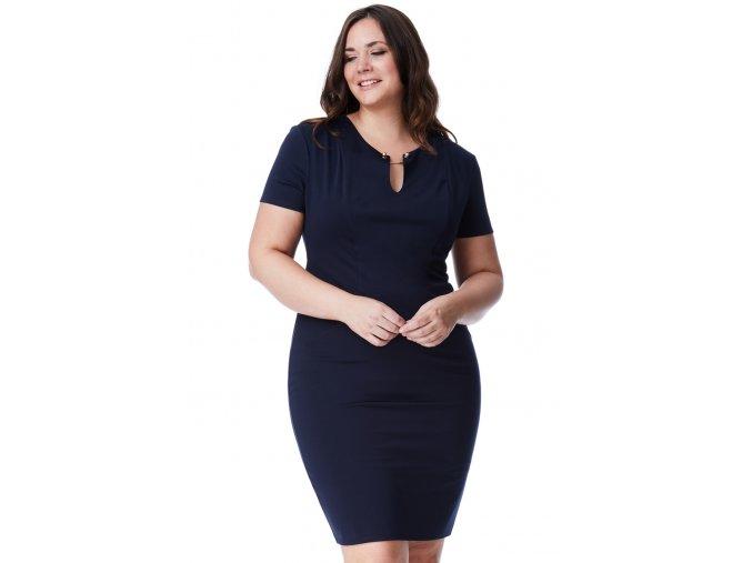 Společenské šaty pro plnoštíhlé Trudie tmavě modré