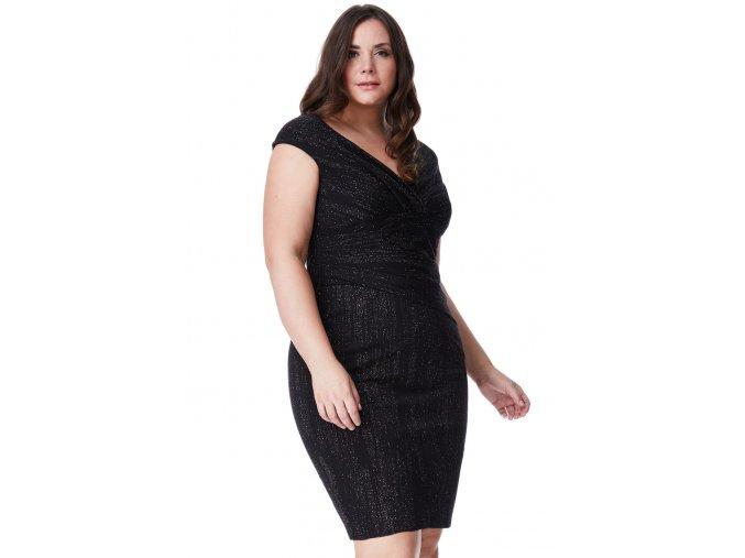 Společenské šaty pro plnoštíhlé Keesha černé