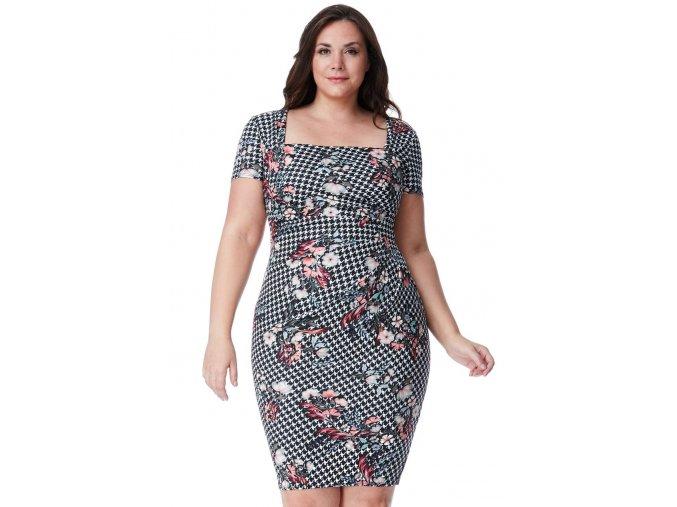 Společenské šaty pro plnoštíhlé Gwen bílo-černé s květy