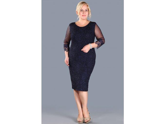 Společenské šaty pro plnoštíhlé Faustine tmavě modré