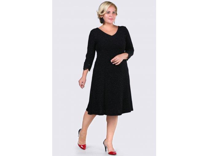Společenské šaty pro plnoštíhlé Madeleine černé