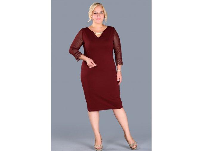 Společenské šaty pro plnoštíhlé Shayla vínově červené