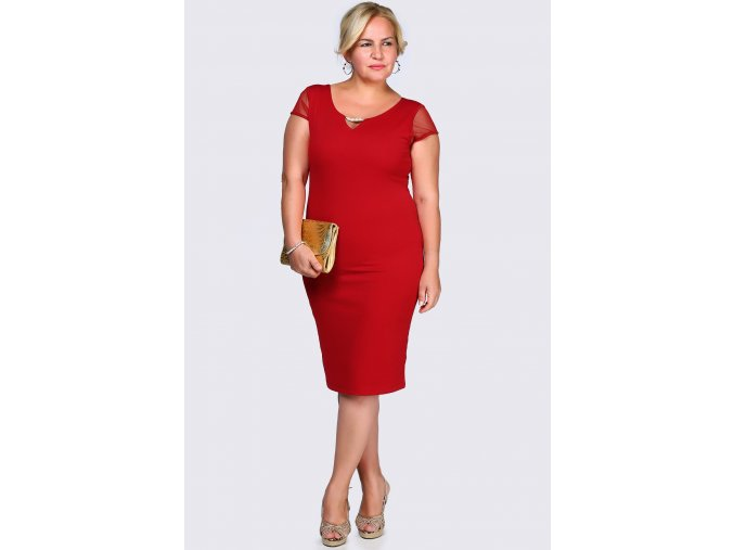 Společenské šaty pro plnoštíhlé Enrica červené