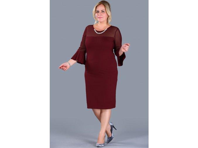 Společenské šaty pro plnoštíhlé Trixie vínově červené