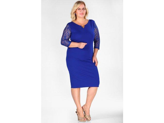 Společenské šaty pro plnoštíhlé Mignon modré
