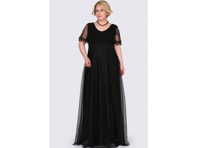 Společenské šaty pro plnoštíhlé Estrella černé dlouhé