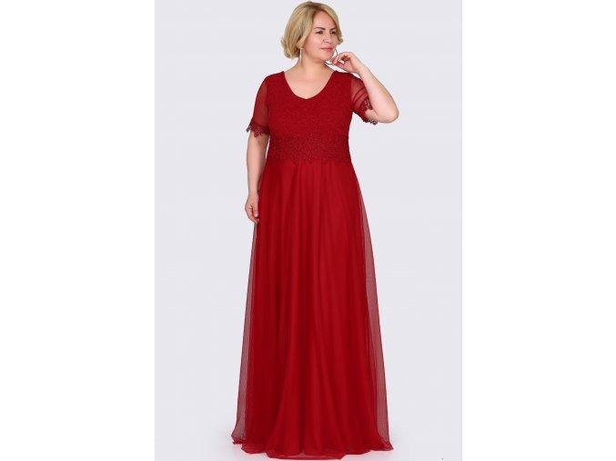 Společenské šaty pro plnoštíhlé Estrella červené dlouhé