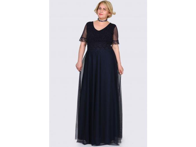 Společenské šaty pro plnoštíhlé Estrella tmavě modré dlouhé