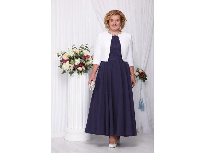 Společenské šaty pro plnoštíhlé Eugenia tmavě modré dlouhé s bílým kabátkem