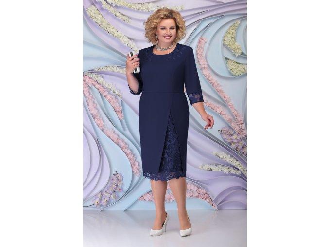 Luxusní společenské šaty pro plnoštíhlé Tiziana tmavě modré