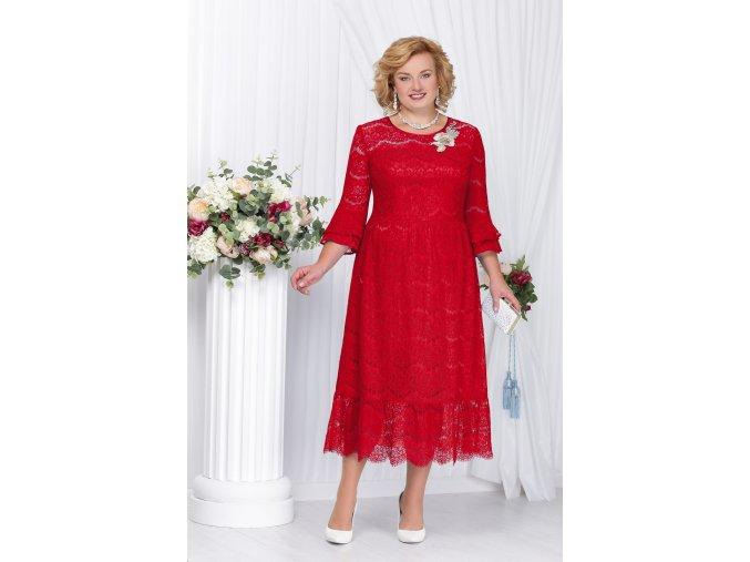 Luxusní společenské šaty pro plnoštíhlé Vissenta červené