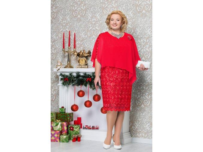 Luxusní společenské šaty pro plnoštíhlé Petronia červené