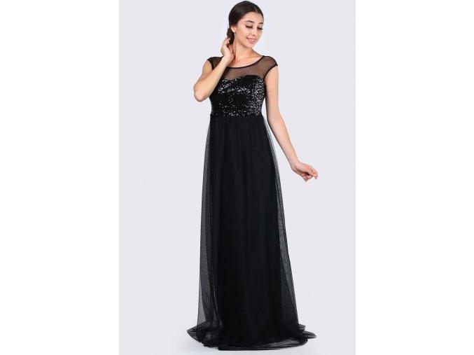Společenské šaty Anneliese černé dlouhé zboku