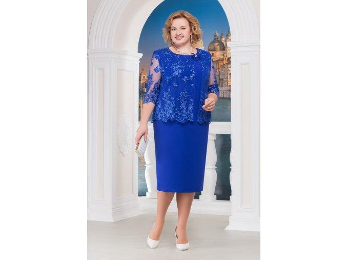 Luxusní společenské šaty pro plnoštíhlé Vittoria II modré