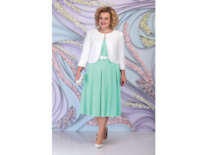 Luxusní společenské šaty pro plnoštíhlé Fortunata mentolové s bílým kabátkem