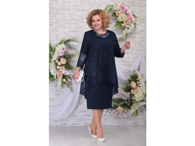 Luxusní společenské šaty pro plnoštíhlé Philippa tmavě modré s krajkovým svrškem