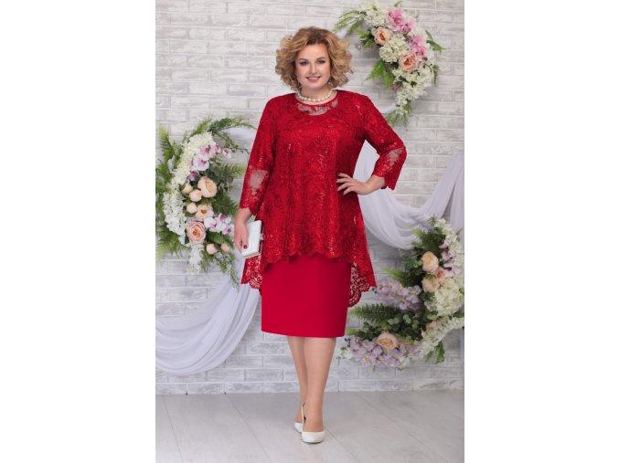 Luxusní společenské šaty pro plnoštíhlé Philippa červené s krajkovým svrškem
