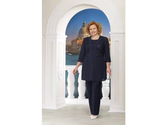 Kalhotový kostýmek s kabátkem pro plnoštíhlé Benedetta II tmavě modrý