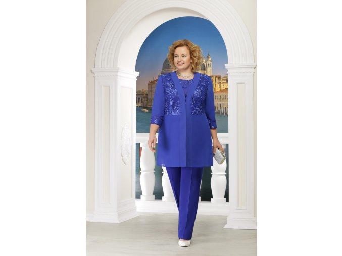Kalhotový kostýmek s kabátkem pro plnoštíhlé Benedetta II modrý