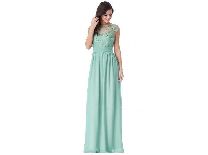 Luxusní společenské šaty Floretta tmavě mentolové