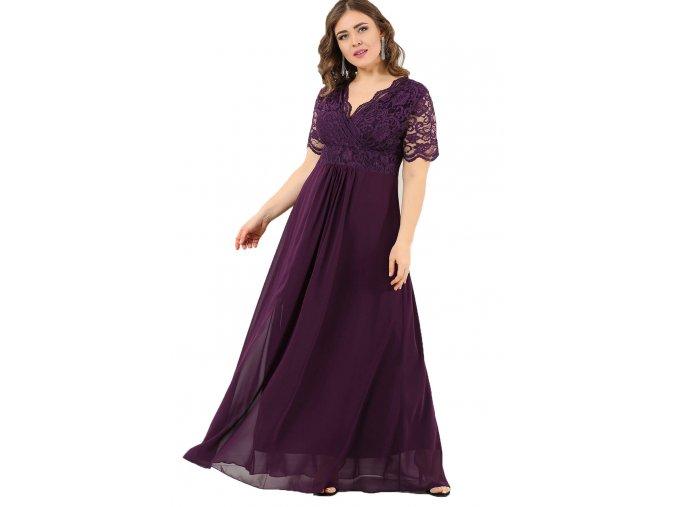 Společenské šaty pro plnoštíhlé Orlanda fialové dlouhé