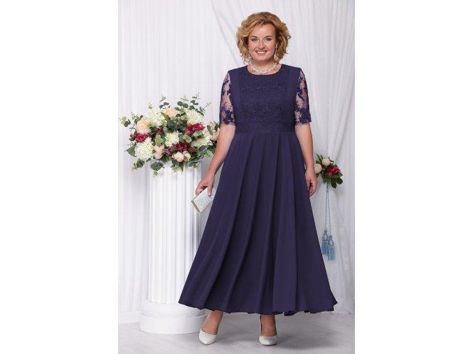 Luxusní společenské šaty pro plnoštíhlé Eugenia tmavě modré dlouhé
