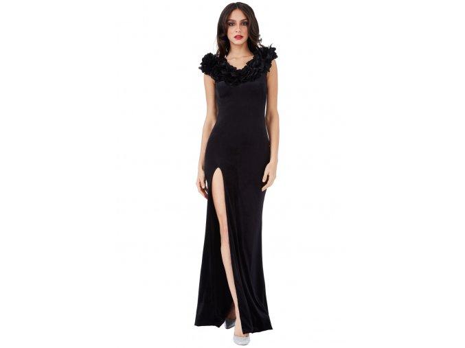 Dlouhé luxusní plesové sametové šaty Apolonia černé