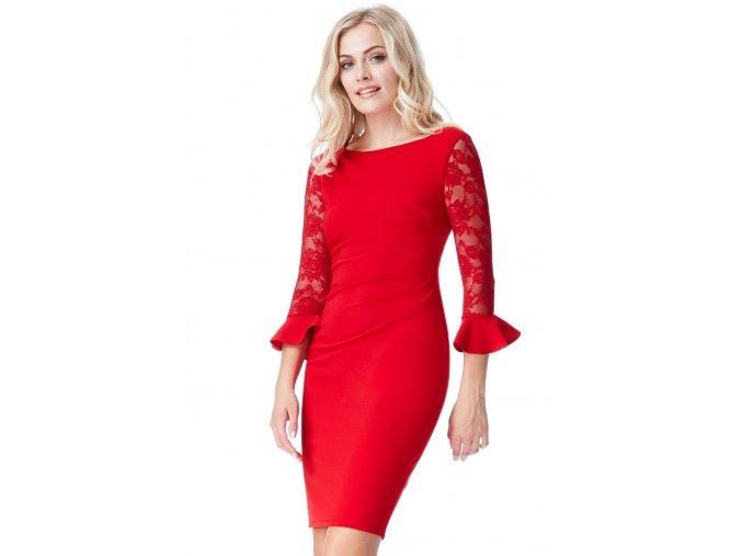 Společenské šaty pro plnoštíhlé Betty červené