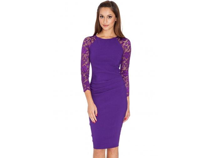 Společenské šaty pro plnoštíhlé Selma fialové