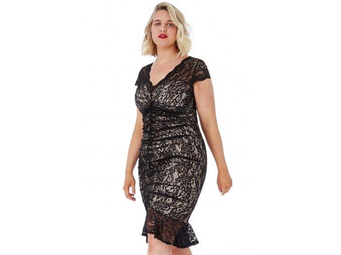 Koktejlové šaty pro plnoštíhlé Noelle béžovo-černé