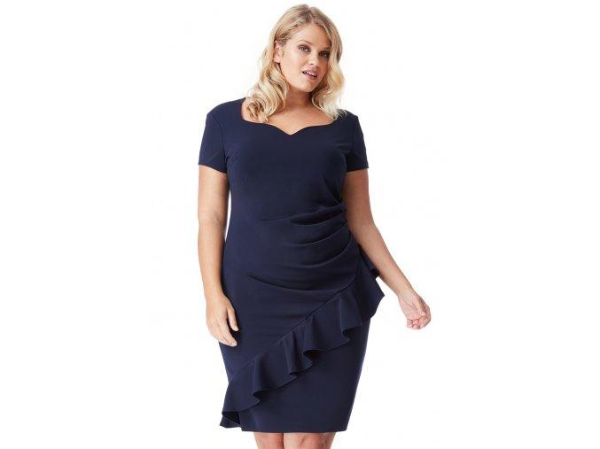 Společenské šaty pro plnoštíhlé Maudine tmavě modré