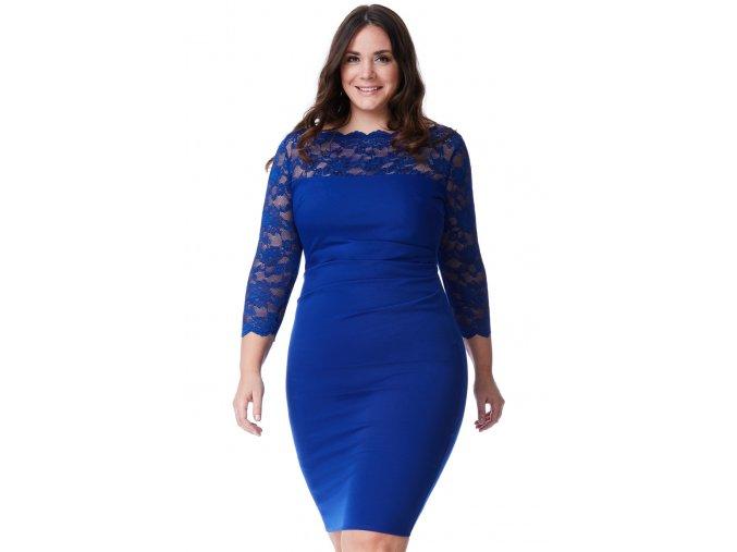 Společenské šaty pro plnoštíhlé Queen modré